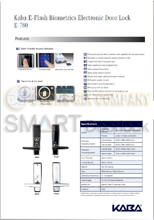 Khóa cửa vân tay KABA EF-780 Hafele Thụy sỹ