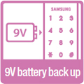 9V battery back-up: In the event that batteries run out, the door can be opened from the outside by using a 9V battery.