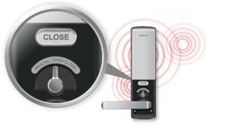 Safer during Emergencies! Rest Secure & Be Assured with Samsung Digital Door Lock: Having surpassed many tests including withstanding high-voltage electric surges, simulated theft scenarios, and fire with impressive results, one's security is guaranteed with high quality, and innovative technology. In the case of a fire, and when temperatures reach over 60 degrees Celsius, the system is specifically designed to sound off the alarm and unlock the door thereby allowing the user to manually open the door using the lever in case the lock loses its electronic functions.