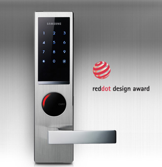 Modern, Slim, Black & Silver Design: With a slim metallic and black design, the casing gives the door lock a modern and sophisticated look. Ergonomically designed for the user's ease of use, the Samsung Digital Door Lock received the three top design accolades including the Red-dot Design Award.