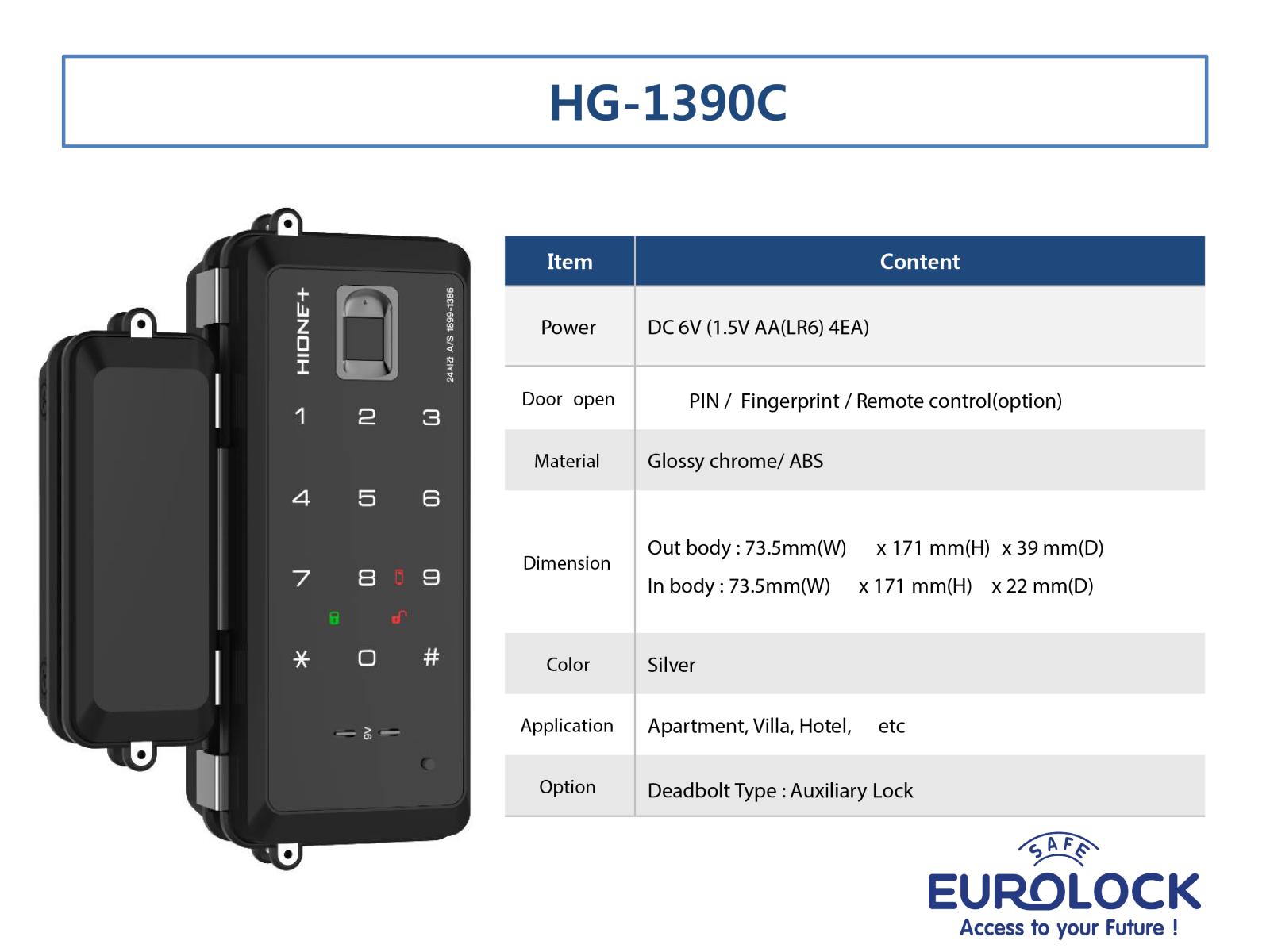 Khóa vân tay cửa kính Hione HG-1390C