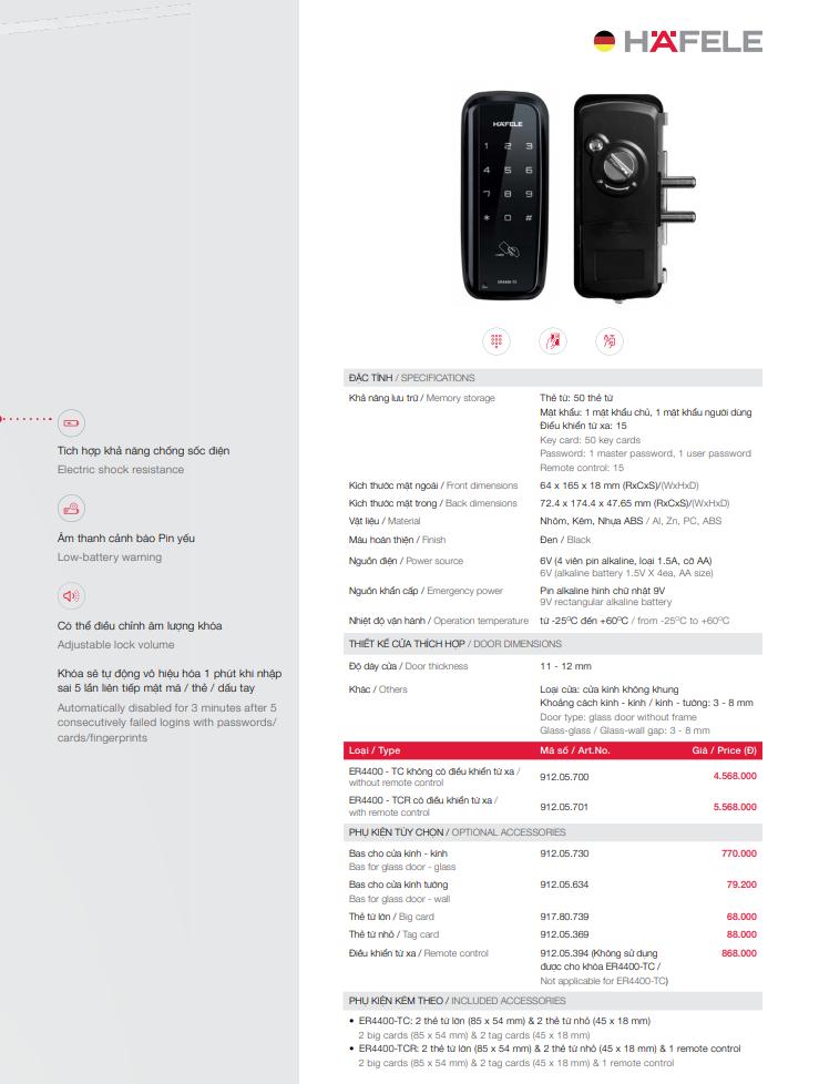 Khóa điện tử Hafele ER4400 TCR cho cửa kính 912.05.701