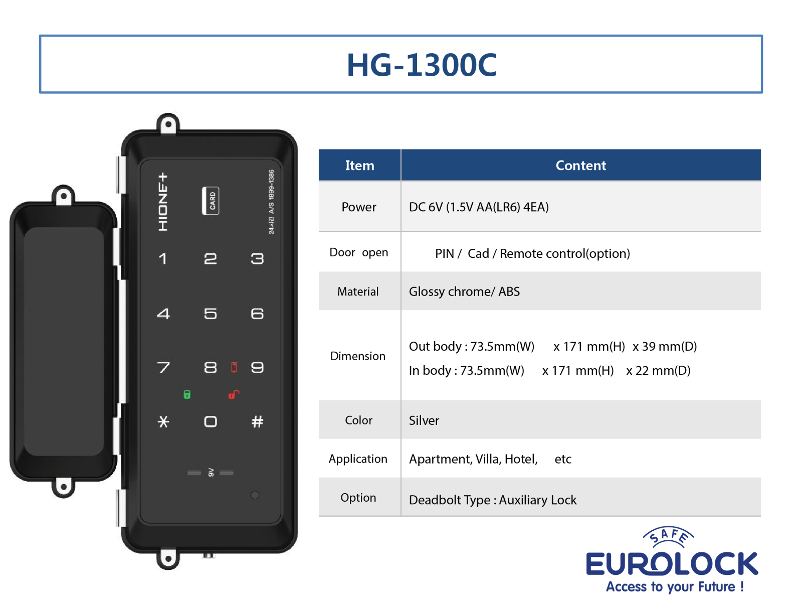 Khóa thẻ từ cửa kính Hione HG-1300C