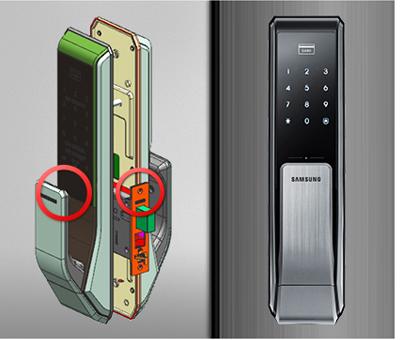 Quản lý cửa Bảo mật với cấu trúc kép mạnh mẽ: Các doorlock trang bị bảo vệ kép cấu trúc mạnh mẽ và giải pháp chống hack.  Các cấu trúc mạnh mẽ được hình thành bằng cách củng cố cả xử lý và cơ quan chính sản xuất hiệu suất vững chắc hơn, các giải pháp chống hack thêm với mật khẩu và mã hóa, ngăn ngừa bất kỳ sự xâm nhập từ bên ngoài buộc phải tối đa hóa an toàn của người dùng.