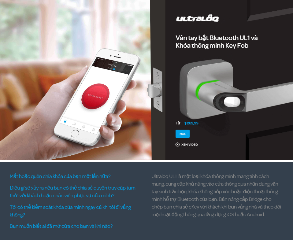 Khóa điện tử vân tay mở cửa từ xa wifi ULTRALOQ UL1