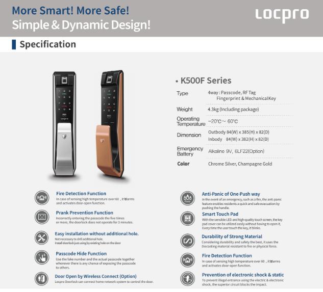 Khóa cửa vân tay Locpro K500